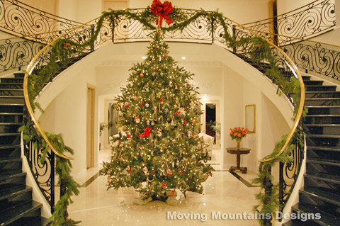 grand entry staged with beautiful christmas tree