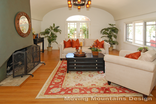 Larchmont Village home staging living room