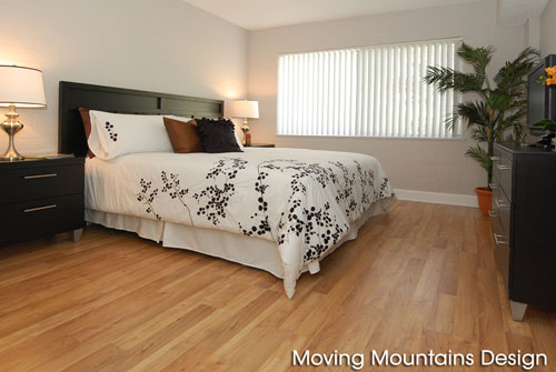 Los Angeles home staging contemporary condo bedroom