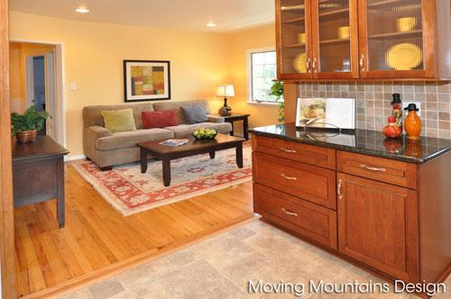 Kitchen and Family Room in La Crescenta home