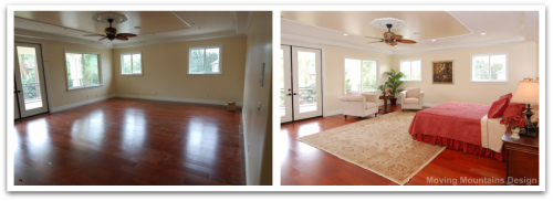 Master bedroom before and after home staging