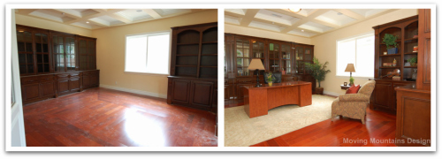 Formal office before and after home staging