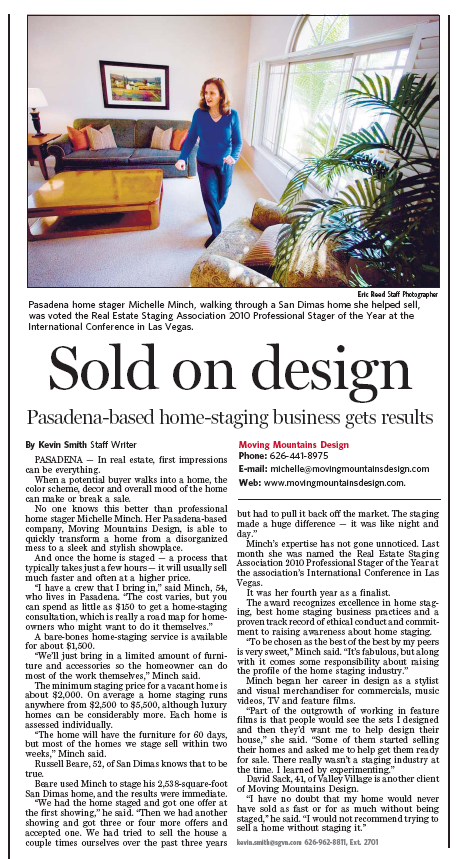 Pasadena Star News Article About Home Stager Michelle Minch