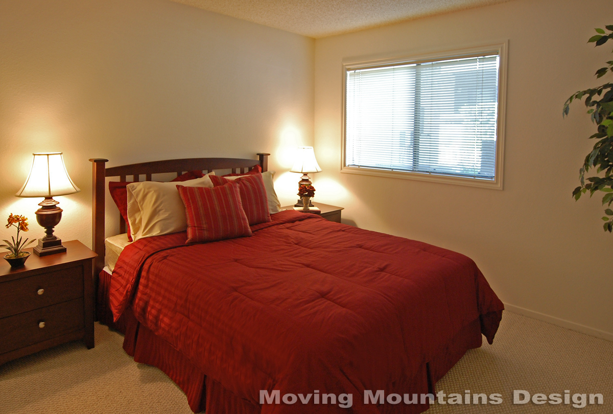 Pasadena condo home staging master bedroom