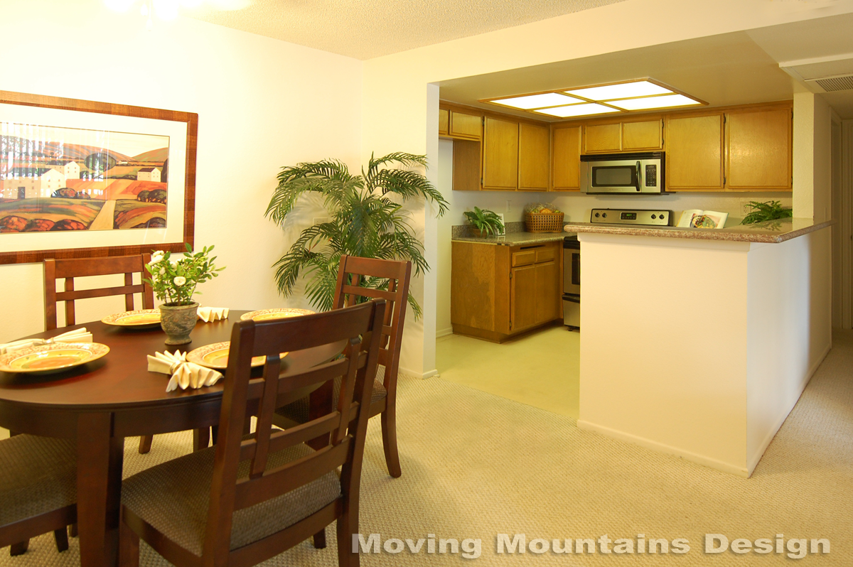 Pasadena condo home staging dining room & kitchen