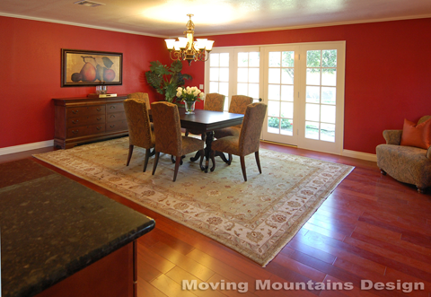 Arcadia home staging red dining room