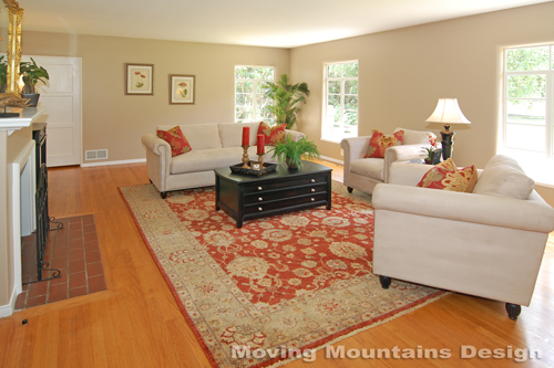 Pasadena home staging living room with Persian rug