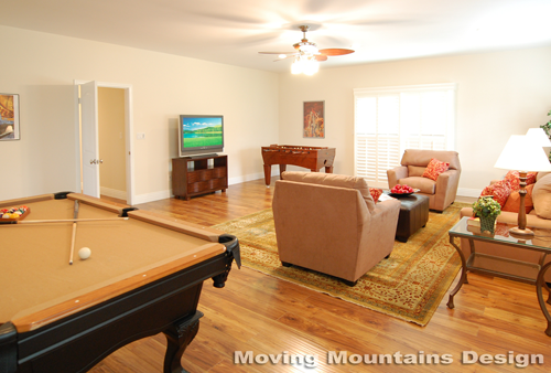 Los Angeles home staging Valley Village home stager game room