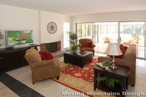 San Gabriel home staging family room by Pasadena Home Stagers