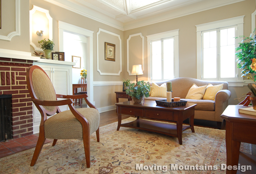 Pasadena home staging living room before staging by Moving Mountains Design