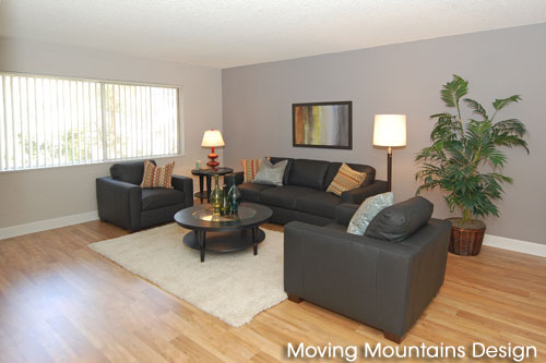 Los Angeles home staging contemporary condo living room