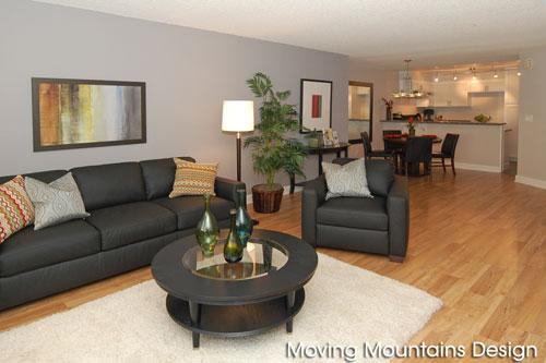 Los Angeles home staging contemporary condo living room by Los Angeles home stagers