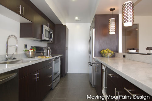 Kitchen of Remodeled Century City condo after home staging