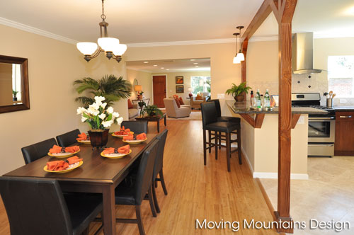 Dining Room in Altadena home staged by Moving Mountains Design