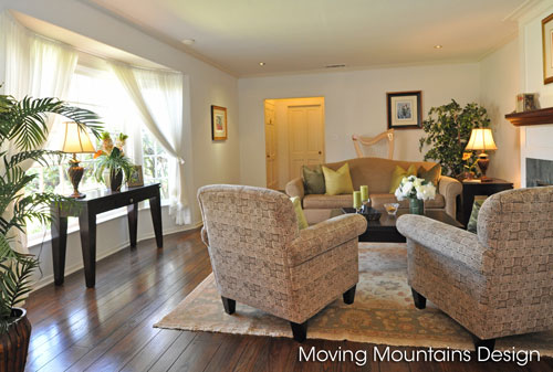 Living room in staged San Marino home