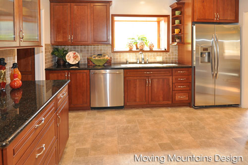Kitchen in home staged by Los Angeles home staging Moving Mountains Design