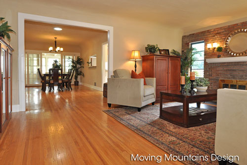 Living room and dining room Pasadena home staging