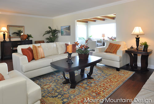Redondo Beach living room home staging